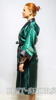 b94545c7f72f2 Двусторонний темнозеленый китайский халат с вышивкой ...